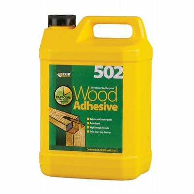 Everbuild 502 Pva Weatherproof Waterproof Wood Adhesive Glue 5 Litre