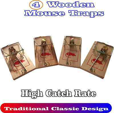 4 Wooden Mouse Traps Traditional Classic Pest Control Rodent Bait