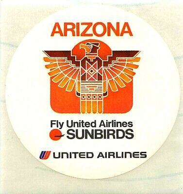 Sunbirds to Arizona ~UNITED AIRLINES~ Great Old Luggage Label / Decal, c. 1965