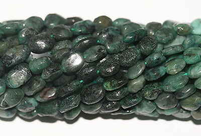 "14"" St Natural Untreated Emerald Oval  Beads 6x8mm Gems"