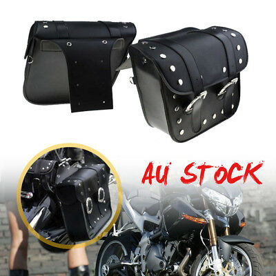 New Universal Motorcycle Saddlebags Pannier Leather Pouch Bag Saddle Bags Black