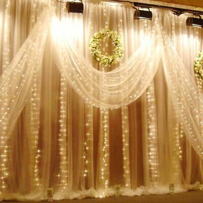 Warm White 8 Mode 6M*3M/600 LED Curtain Fairy Lights Outdoor Wedding Xmas Party