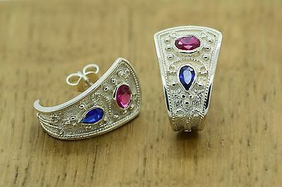 Byzantine Earrings Rubies Sapphires 925 Sterling Silver Etruscan GREEK ART