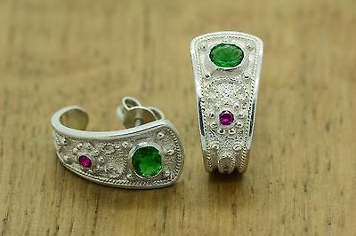 Ruby Emerald Byzantine Earrings 925 Solid Sterling Silver Etruscan Greek Art