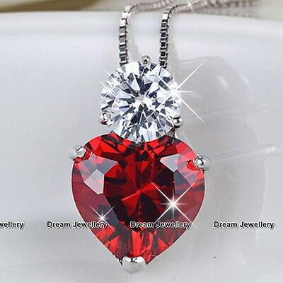 Red Love Heart Silver Necklace Chirstmas Gifts for Her Girlfriend Wife Women GF