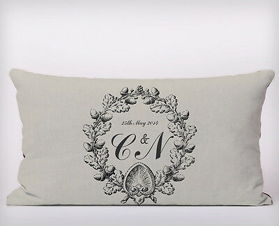 Vintage Monogram Wedding - Long Cushion Covers Pillow Cases Home Decor or Inner