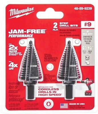 Milwaukee 48-89-9239 #9 Step Drill Bit, 7/8 in. & 1-1/8 in. 2 Pack