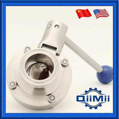 """1.5"""" Sanitary Stainless Steel 304 Pull Handle Tri Clamp Butterfly Valve"""