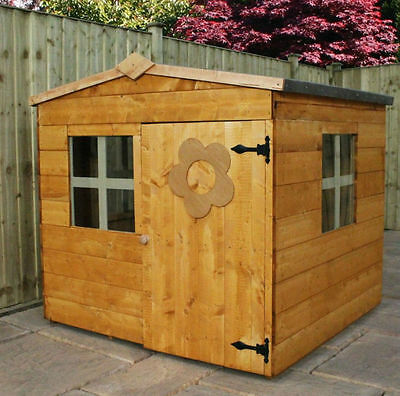 4ft x 4ft WOODEN OUTDOOR CHILDRENS PLAYHOUSE GARDEN SINGLE DOOR WENDY HOUSE NEW