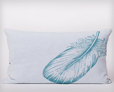 Blue Feather - Long Cushion Covers Pillow Cases Home Decor or Inner