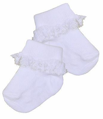 BabyPrem Premature Prem Tiny Baby Clothes Pair Girls Frilly White Ankle Socks