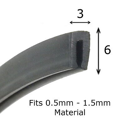 Small BLACK Rubber U Channel Edging Trim Seal 6mm x 3mm from The Metal House