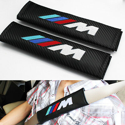 2 x BMW M  ///M Carbon Fiber Car Seat Belt Cover Pads Shoulder Cushion free ship