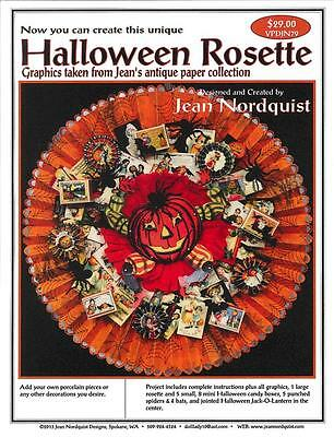 Jean Nordquist's Halloween Rosette w/jointed JOL man, mini boxes, rosettes, +++