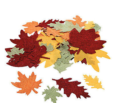 """50 Burlap Leaf Shapes 2-5"""" Thanksgiving Halloween Fall LEAVES Foliage CRAFTS"""