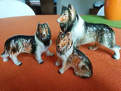Vintage Wales Collie Dog Family Figurines Made In Japan Fast Shipping