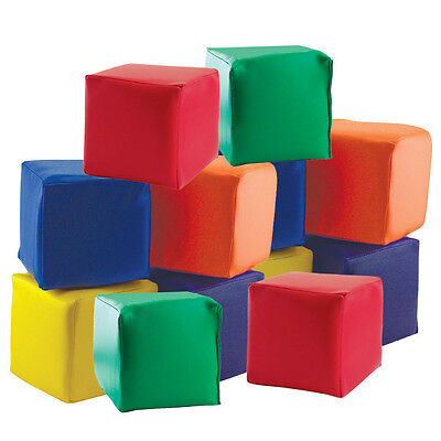 """Toddler Blocks 5-1/2"""" Cube Primary Colors Pro Daycare Soft Vinyl Baby Kids Child"""