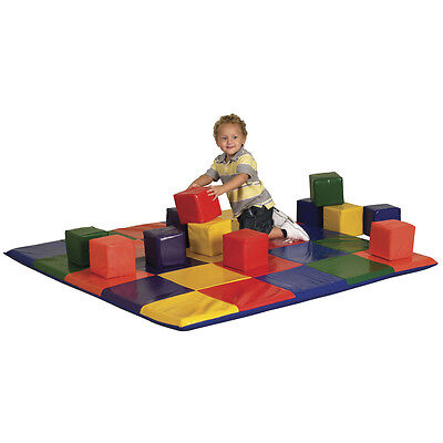 Big Toddler Mat and 12 Cube Blocks Pro Daycare Soft Vinyl Baby Kids Childplay