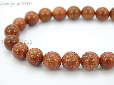 Natural Gold Sand Gemstone Round Beads 15.5'' 2mm 4mm 6mm 8mm 10mm 12mm