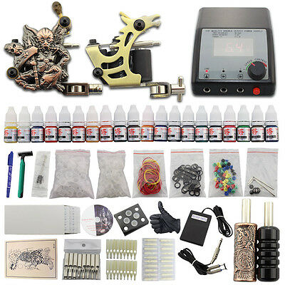 Complets Tattoo Kit de Tatouage 2 Machine à Tatouer 20 Encres Alimentation DJ28