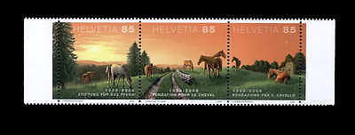 Horses strip of 3 stamps mnh Switzerland 2008