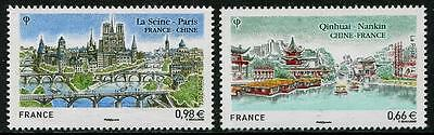 Cities & Rivers Bridges set of 2 stamps mnh 2014 France joint issue with China