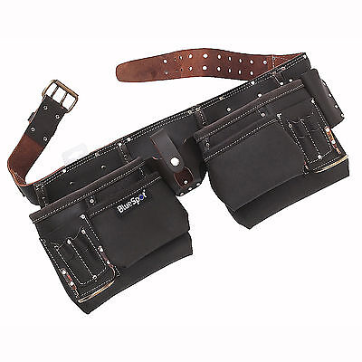 11 Pocket Tool Belt Oil Tanned Leather Work Pouch Joiners Nail Bag Work Apron