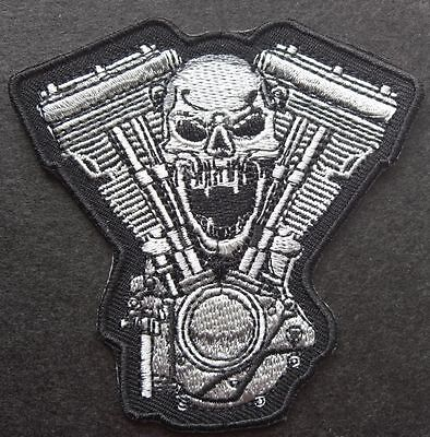 Screaming Skull Engine - Sew On Biker Motorcycle Patch