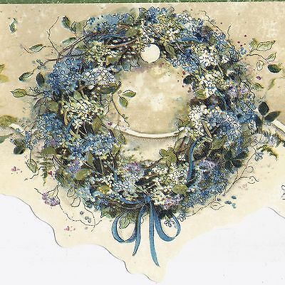 Country Wildflower Wreath - Ivory Green Blue - ONLY $9 - Wallpaper Border 489