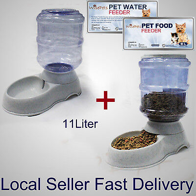 Large Automatic Dog Cat Food & Water Feeder Set Bowl Dispenser Plastic 11 Liters