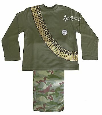 Boys Army Camouflage Bullet Belt Long Pyjamas Ages 3-10 Years Soldier