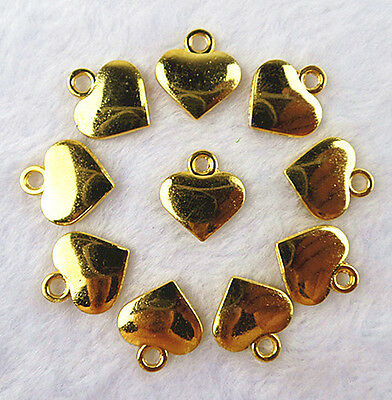 10PCS Beautiful Alloy Gold plated carved heart pendant bead BC2412