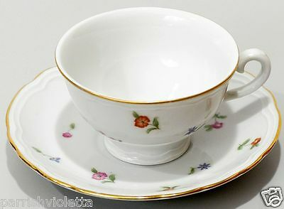 Italian Richard Ginori Demitasse Cup & Saucer China Floral Flowers and Gold Trim