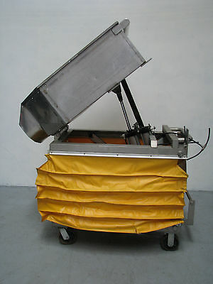 Pneumatic Scissor Lift With Stainless Tipping Bin - 500kg Capacity 1.1m Lift