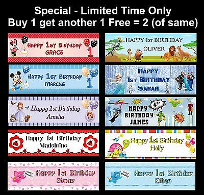 Personalised Baby First 1st or ANY Age Name Party Birthday Banner Disney & Other