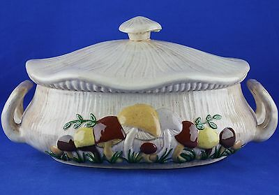 Vintage Arnels MUSHROOMS Oval Bowl Covered Casserole Soup Tureen
