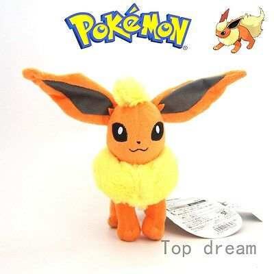 "Pokemon Flareon Plush Fire Eevee Soft Toy Stuffed Animal Cuddly Doll 8"" Teddy"
