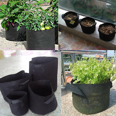 Black Fabric Pots Plant Pouch Round Aeration Pot Container Vegetable Grow Bags