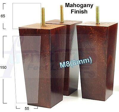 4x SOLID WOODEN FEET 150mm HEIGHT FURNITURE LEGS - SOFA, CHAIRS, STOOLS M8(8mm)