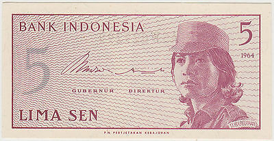 (WN-86) 1964 Indonesia 5 SEN Bank note UNC (H)