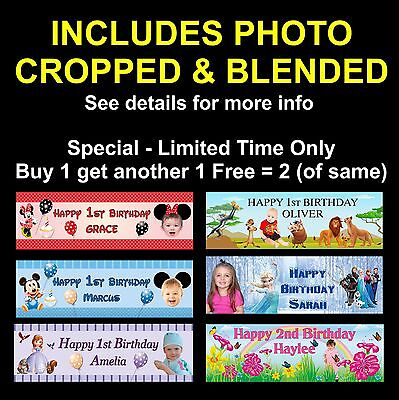 PHOTO, Personalised 1st Birthday Party Banner Mickey, Minnie, Lion King, Disney
