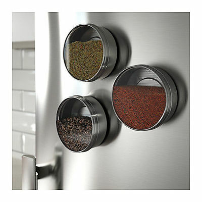 3x Stainless Steel Magnetic Spice Containers Parts Storage Collector Fridge