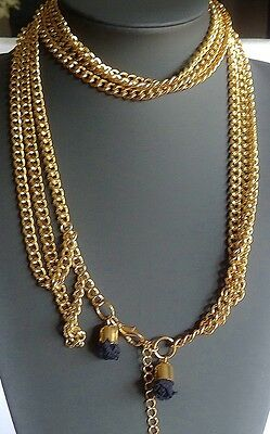 Vintage Necklace Three Strand Heavy Chains with Black Tassles at Closure VGC 95