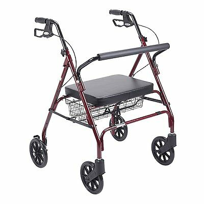 Heavy Duty Bariatric Rollator Walker W/ Padded Seat Red 10215RD-1 -Drive Medical