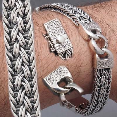 """8"""" 43g WOVEN BRAIDED SNAKE CURB CHAIN 925 STERLING SOLID SILVER MENS BRACELET"""