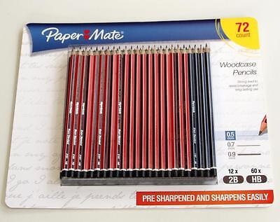 Papermate 60 Hb + 12 2B ( 72 Mega Pack) Woodcase Pencils Presharpened Pencil