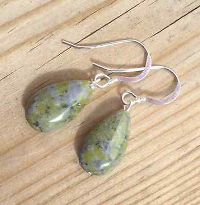 Traditional Connemara Marble drop earrings. Irish gemstone jewellery gift.