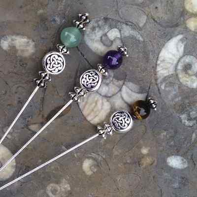 Choice of 3 gemstone long hat kilt scarf lapel shawl celtic pins brooch. Irish