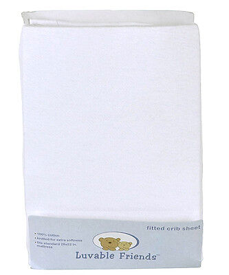 "Luvable Friends Solid White Fitted Crib Sheet (28"" x 52"")"