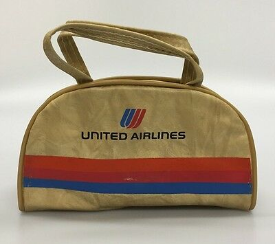 Vintage UNITED AIRLINES Miniature Toy Vinyl Bag Purse by Airline Textile Mfg
